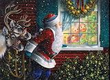 Santa with two reindeers