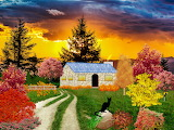 Fall-farm-black-cat-colorful