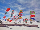 flags at Salar de Uyuni, Bolivia