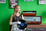 girl with vinyl record player