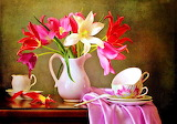 #Colorful Flowers with Tea Cups Still Life