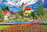 Brienz Town and Flowers, Switzerland