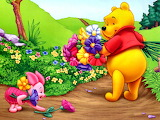Winnie & Piglet amongst the flowers