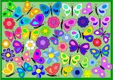 Butterflies & Flowers on Green