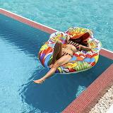 Sunbathing on raft