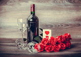 Roses and Wine Red Bottle