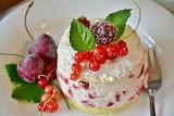 Cream cake decorated with fruit