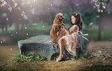 Mood, stone, dog, petals, girl, Asian, friends, doggie, dog