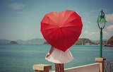 Sea, sky, water, girl, river, umbrella, mood, heart, dress, lant
