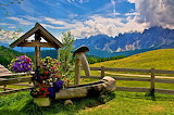 Landscape-italy-grass-dolomites-europe-sky-flowers-well-fence