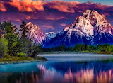 Mountain by sunrise
