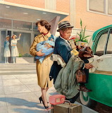 Leaving Hospital 1950s Charlie Dye illustration