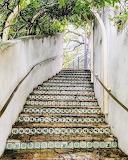 Mexican tile stairway in San Antonio, Texas