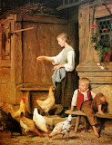 Girl Feeding Chickens, Albert Anker
