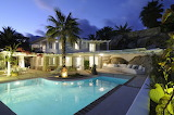 Luxury Mykonos Villa, pool and garden at night