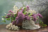 Flowers, basket, still life, lilac, chestnut, composition
