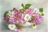Flowers, berries, bouquet, petals, art, pink, white, painting, v