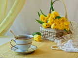 tea & yellow tulips