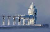 Frozen Saint Joseph Lighthouse Lake Michigan USA