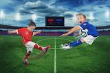 Football, girls, the ball, humor, children, field