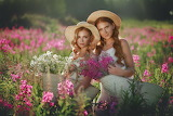 girls in a flower field