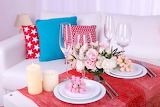 colorful cushions and tableware