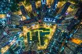Aerial night time scene Ho Chi Minh City Vietnam
