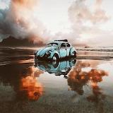 Abandoned Volkswagon bug Lagoon Beach Milnerton South Africa