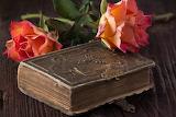 Bible ancienne et roses