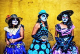 Women in costume celebrating day of the dead Mexico