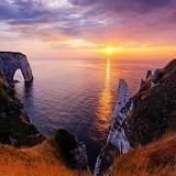Sunset ocean near Le Havre Normandy France