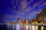 Chicago waterfront skyline at night