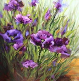 Purple poppy flower garden painting by texas artis floral still