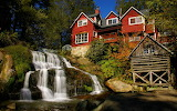 country house with waterfall