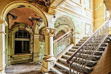 Staircase the colorful abandoned Villa B.