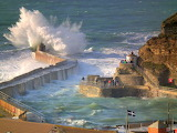 Wild waves at Portreath Harbour by Jacquie Wilkes