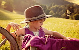 Summer, nature, meadow, girl, hat, cart, child