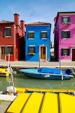 Colorful houses and canal with boats