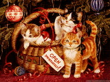Christmas Cats in a Basket
