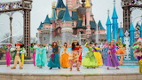 Disneyland, festival, castle, people, costumes, dancing