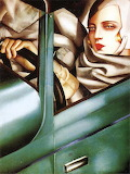 Self Portrait In A Green Bugatti Painting by Tamara de Lempicka