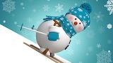 snowman skiing