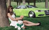 Asian girl and green car