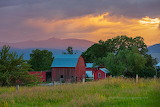 Charlo barn at sunset
