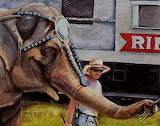 Circus Elephant Works for Peanuts by Kathy Michels