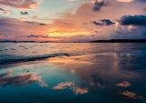 Blue pink beach sunset