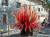Sculpture of red glass in Murano, Italy