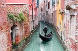 Canal, gondola, gondolier, old, brick houses, Venice