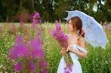 Woman, field, summer, grass, girl, flowers, nature, umbrella, su