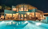 Luxury Mediterranean villa, pool and terrace by night